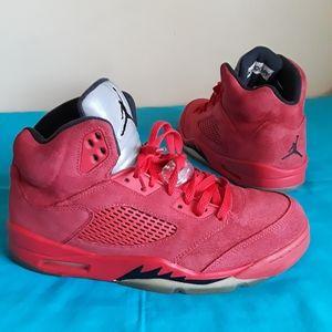 Nike Air Jordan 5 Retro Red Suede Black Size 10